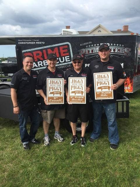 Christopher Prieto (far left) stands with members of PRIME BBQ after a 3rd place finish at the 2015 Kannapolis, NC Jiggy with the Piggy Competition (KCBS).